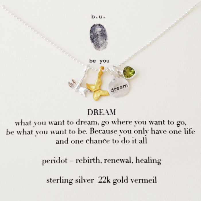 B U Dream Charm Necklace Dragonfly Amp Peridot Gemstone
