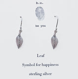 b.u. Sterling Silver Leaf Drop Earring