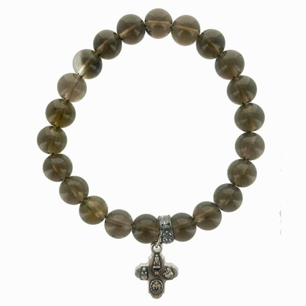 b.u. Smokey Quartz Cross Charm Protection Bracelet