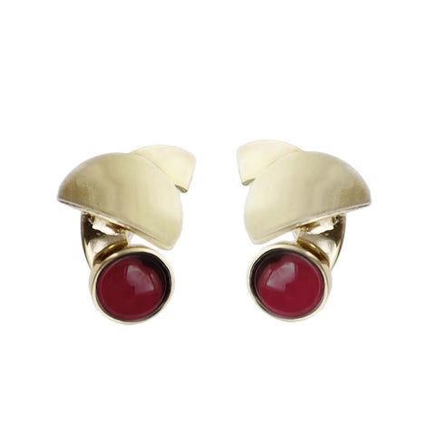 Christophe Poly Royal Gold And Red Post Earrings