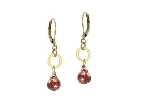 Edgy Petal Petite Faceted Red Garnet Hoop Drop Earrings