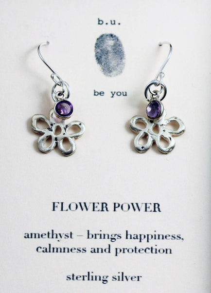 b.u. Flower Power Amethyst Earrings