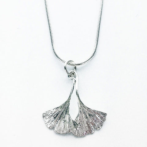 Double Ginkgo Silver Necklace