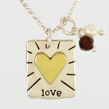Love Necklace with Garnet and Pearl