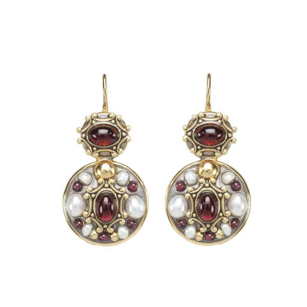Michal Golan Garnet And Pearl Double Circle Earrings