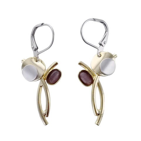 Christophe Poly Mixed Metal Circle Oval Stem Earrings
