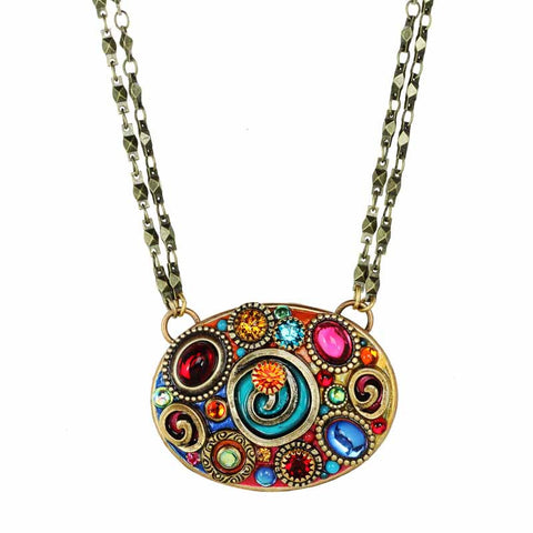 Michal Golan Coloful Large Spiral Pendant Necklace