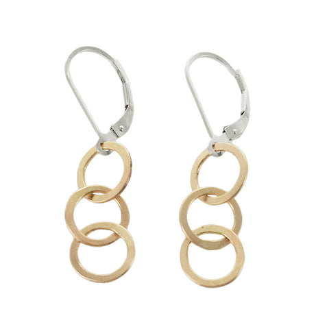 J & I Triple Linked Gold Hoop Earrings