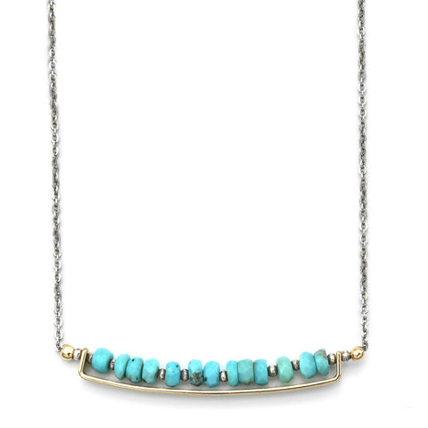 J And I Turquoise Bar Necklace