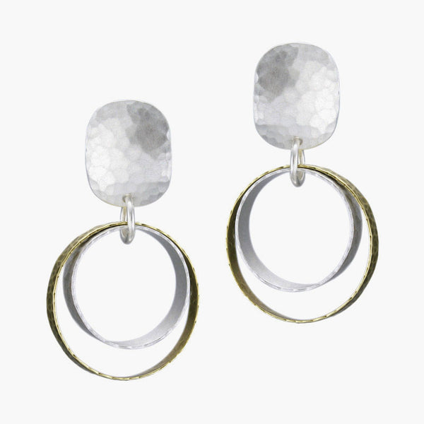 Marjorie Baer Post Earrings Mixed Metal Hoops
