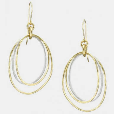 Marjorie Baer Two Toned Triple Organic Hoop Earrings