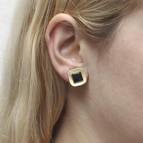 Marjorie Baer Small Gold Black Rounded Squares Clip Earrings