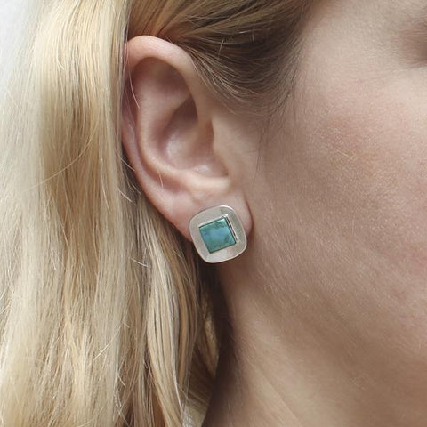 Marjorie Baer Small Silver Rounded Squares Turquoise Clip Earrings