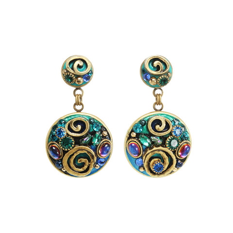 Michal Golan Round Post Emerald Earrings