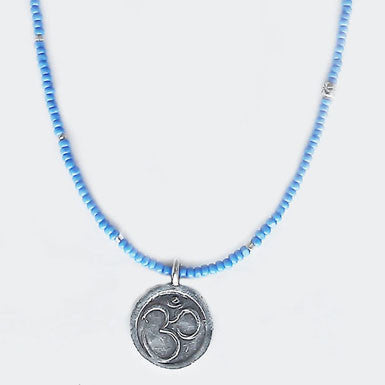 Om Necklace With Powder Blue Glass Beads