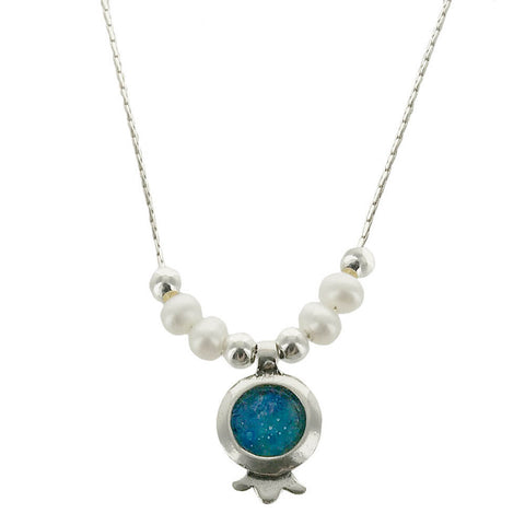 Israeli Roman Glass Sterling Pomegranate Pearl Necklace