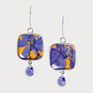 Shari Dixon Larkspur Flower Gemstone Drop Earrings