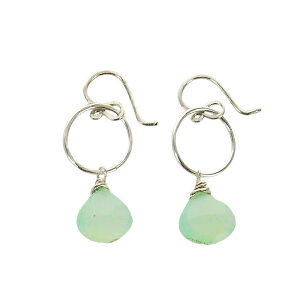 Soft Sea Blue Chalcedony Hoop Earrings