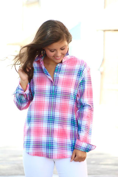 Southern Tide Plaid Hadley Popover - Smoothie Pink