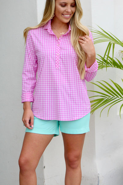 Southern Tide Hadley Gingham Popover - Pink Cyclamen
