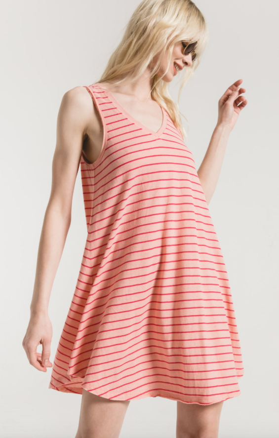 Yuma Stripe Breezy Dress - Coral Haze/Rose Red