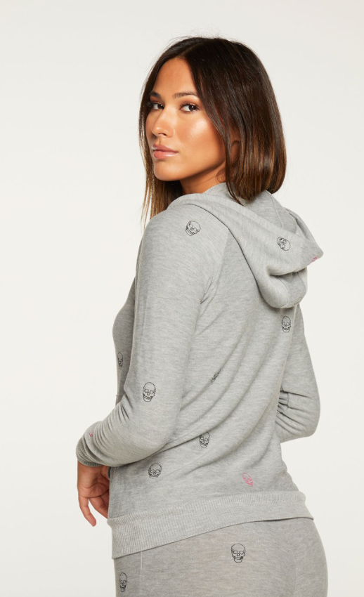 Chaser Tiny Skulls Zip Up Sweatshirt