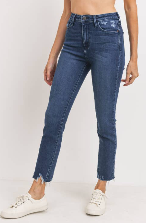 Hi Rise Slim Straight - Dark Denim