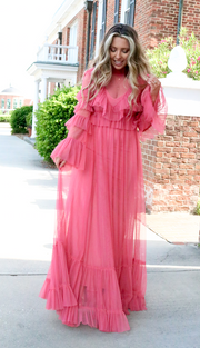 Showstopper Tulle Maxi Dress | Pink