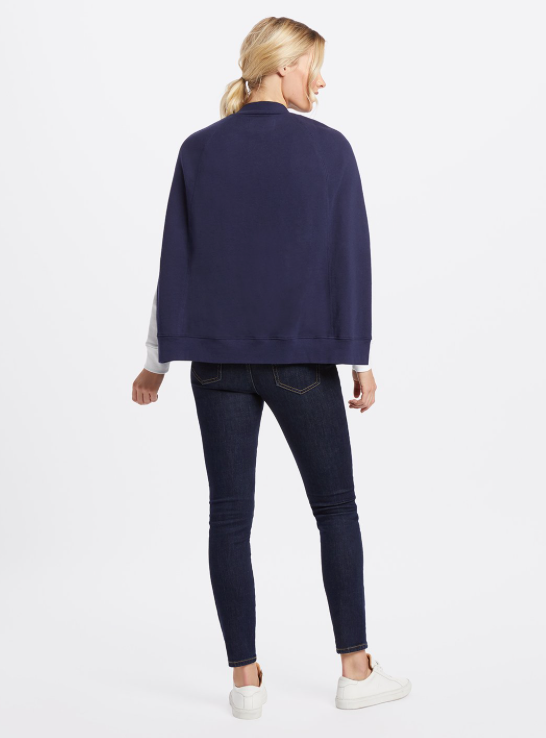 Draper James Knit Sweater Cape - Nassau Navy