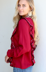 Rachel Embroidered Ruffle Top