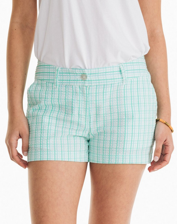 Leah Teal Gingham Shorts