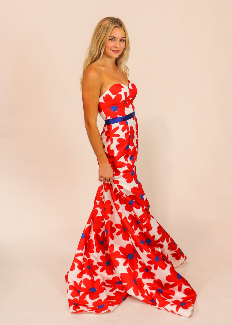 Red Floral Formal Gown - Cason Couture