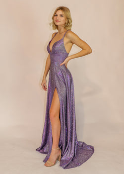 Purple Shimmer A-Line Formal Gown - Cason Couture