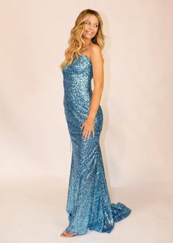 Turquoise Blue Straight-Across Sequin Formal Gown - Cason Couture