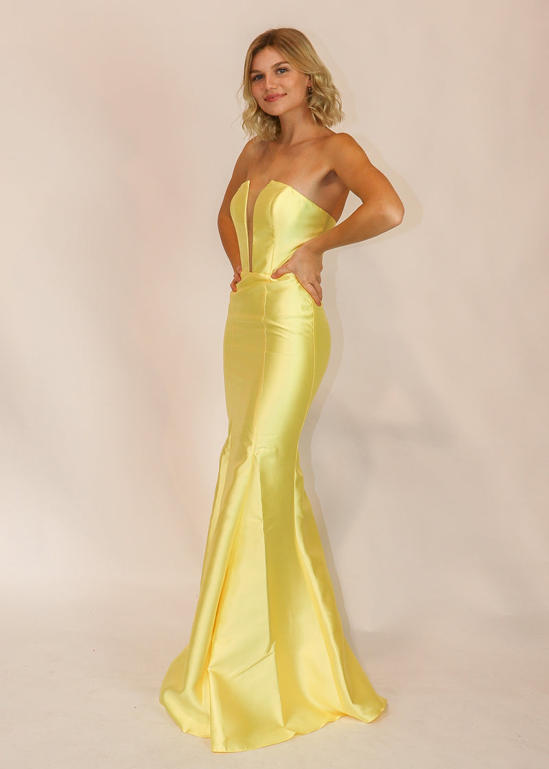 Strapless Pastel Yellow Column Formal Gown