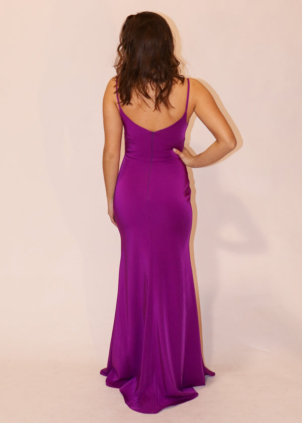 Bright Purple A-Line Formal Gown