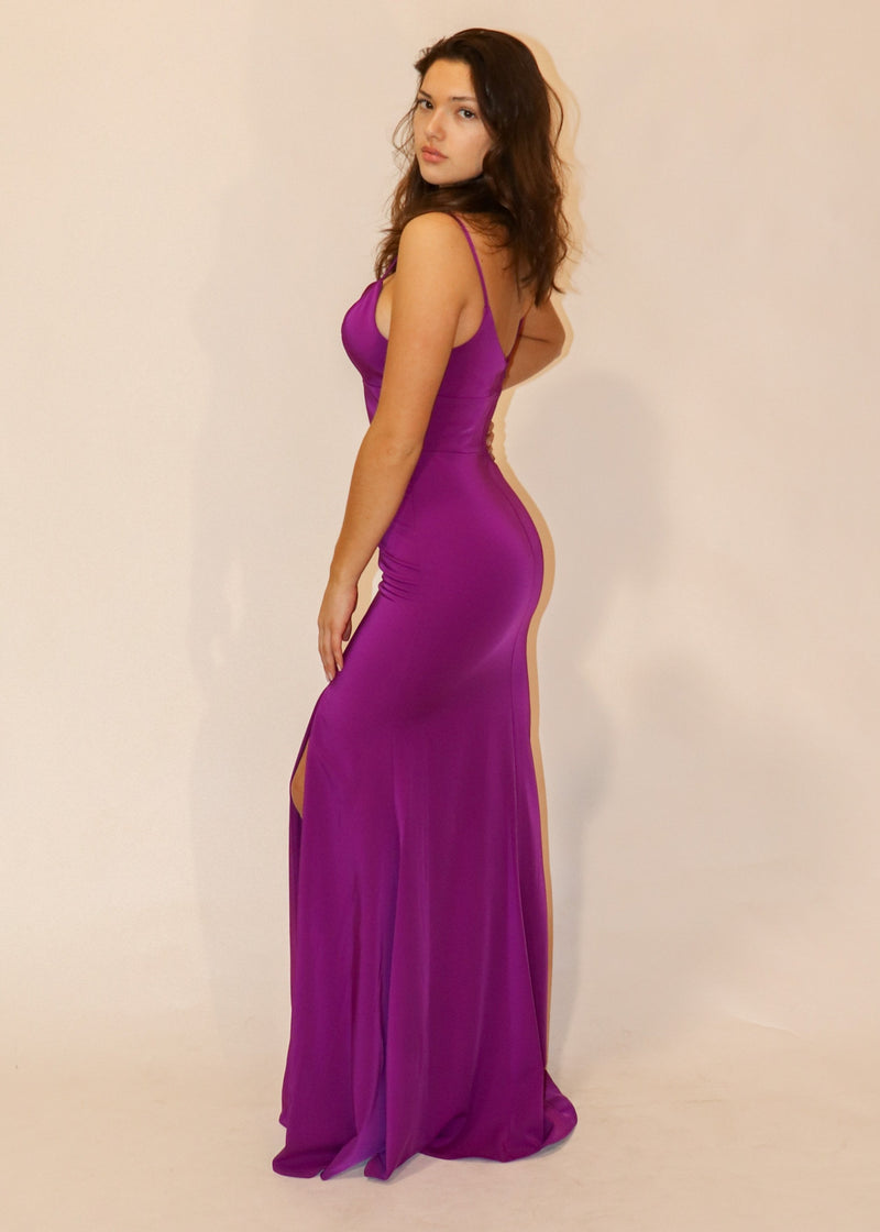 Bright Purple A-Line Formal Gown - Cason Couture
