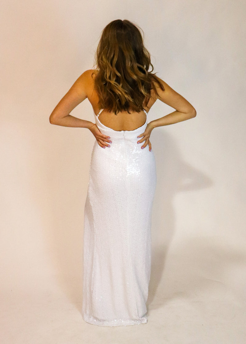White Sequin Gown - Cason Couture