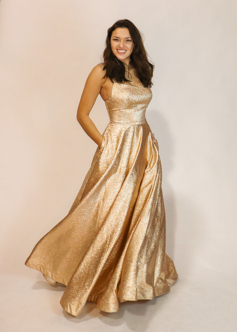Sparkly Gold Ball Gown - Cason Couture