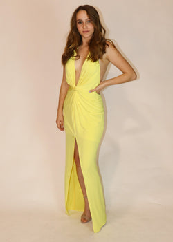 Vibrant Yellow Plunging Halter Gown - Cason Couture