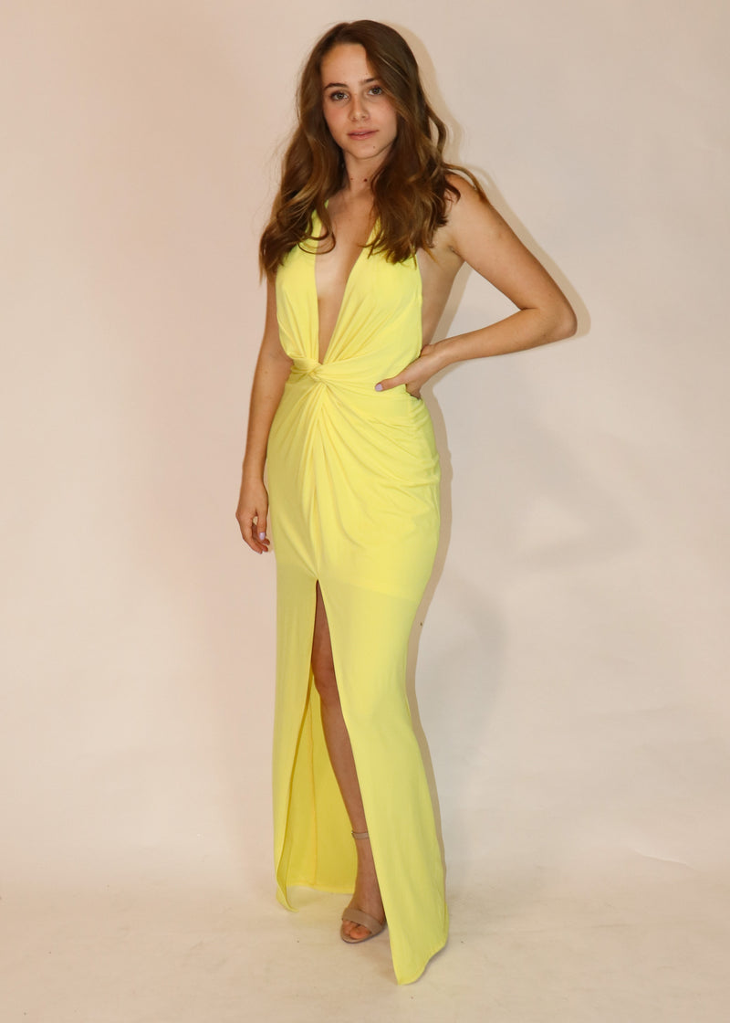 Pastel Yellow Plunging Halter Gown