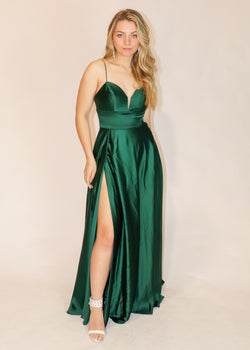Emerald Green Satin Gown