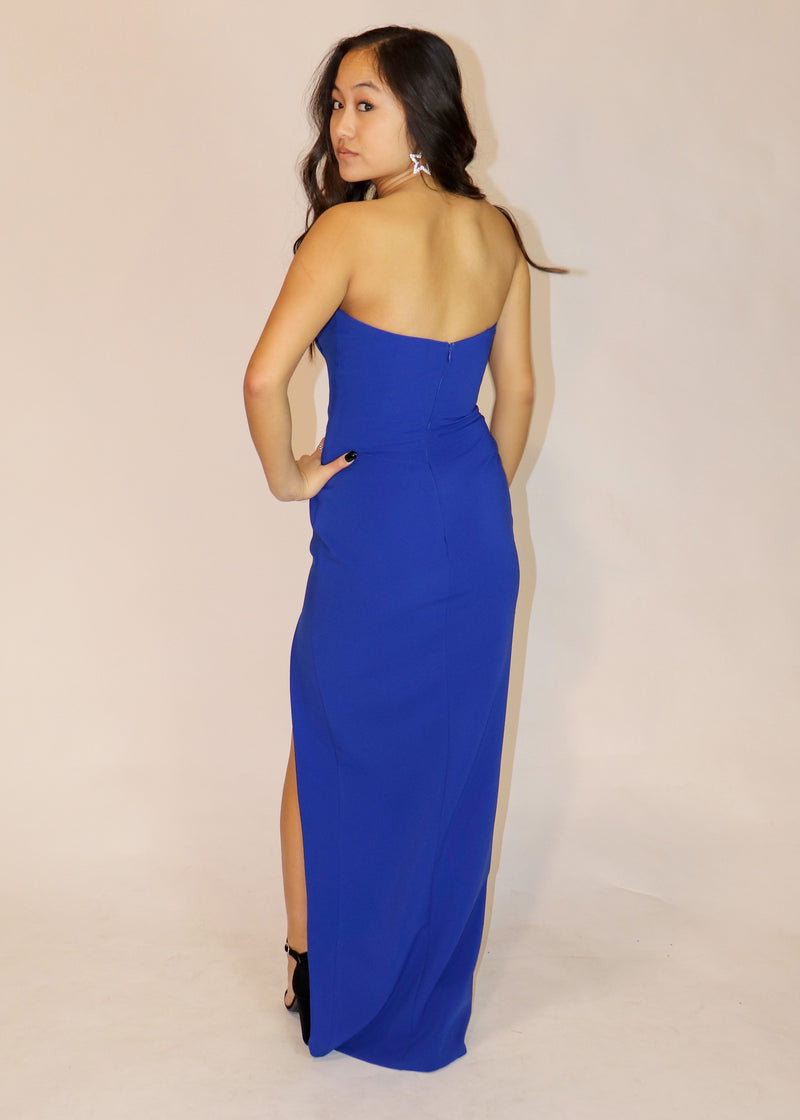 Strapless Formal Gown with Slit in Royal or Vibrant Red - Cason Couture