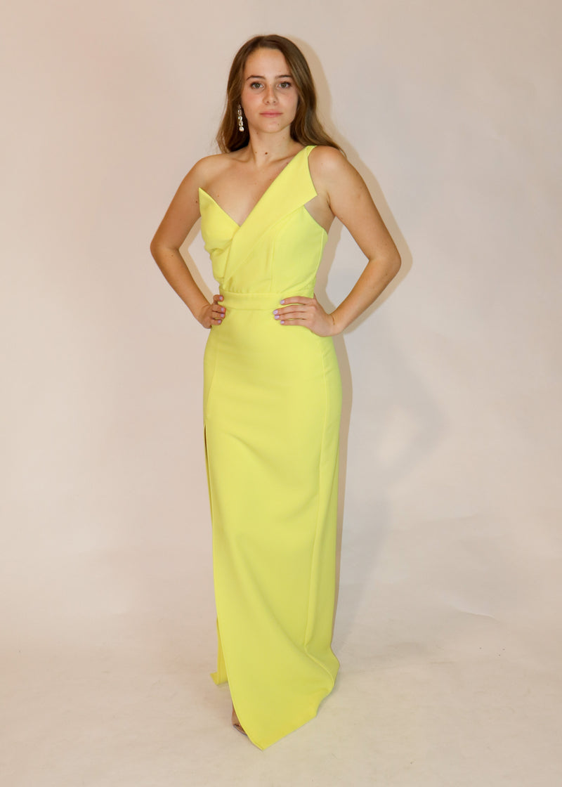 One-Shoulder Pastel Yellow Gown