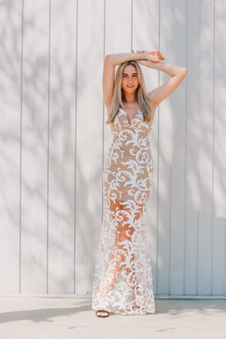 The DK Nude Lace Gown - Cason Couture