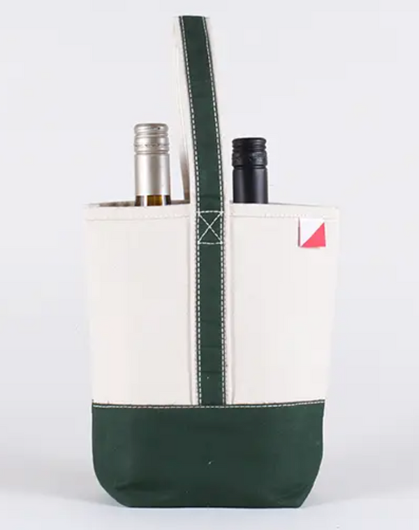 Double Wine Bag - Forest Green - Cason Couture