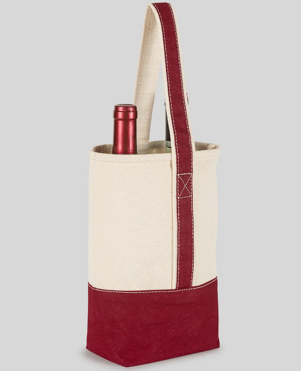 Double Wine Bag- Maroon - Cason Couture