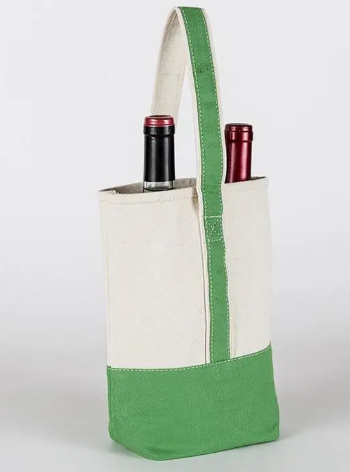 Double Wine Bag - Green - Cason Couture