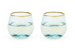 Aqua Bubble Stemless Wine Glasses - Cason Couture