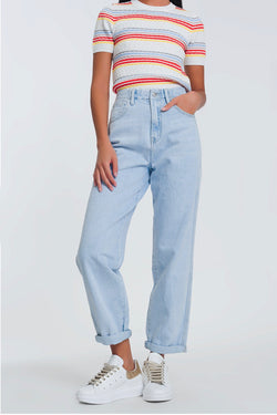 High Waisted Loose Jeans - Cason Couture